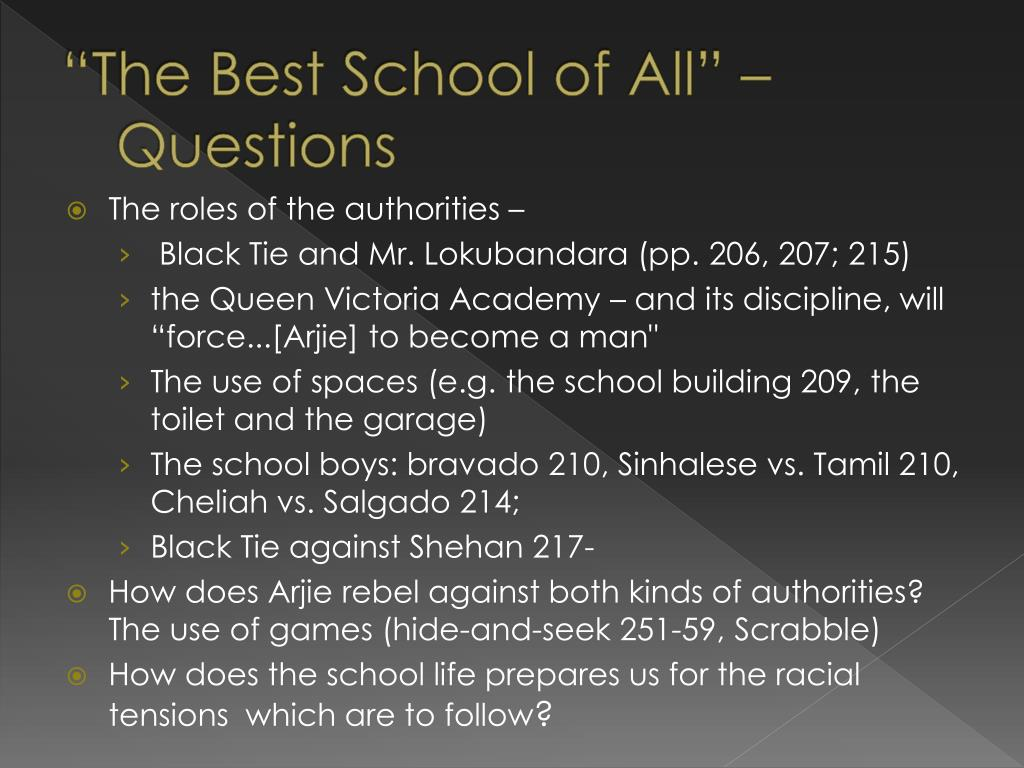 """""""The Best School of All"""" –Questions"""