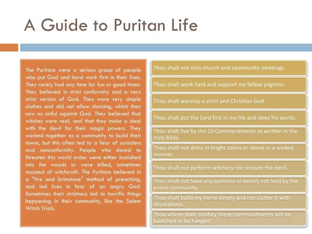 a readers guide to puritan life By valuing all of life in relation to god, puritans gave sacred significance to every activity the original puritan work ethic baxter exhorted his readers.