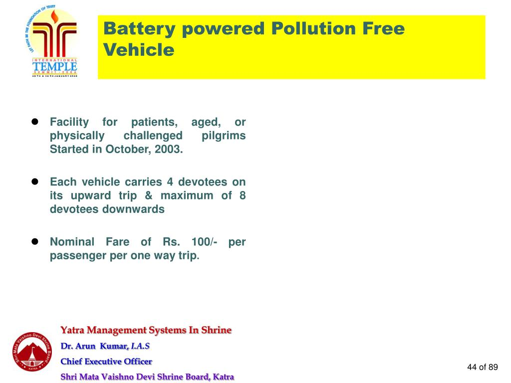 Battery powered Pollution Free Vehicle
