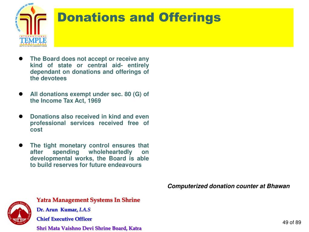 Donations and Offerings