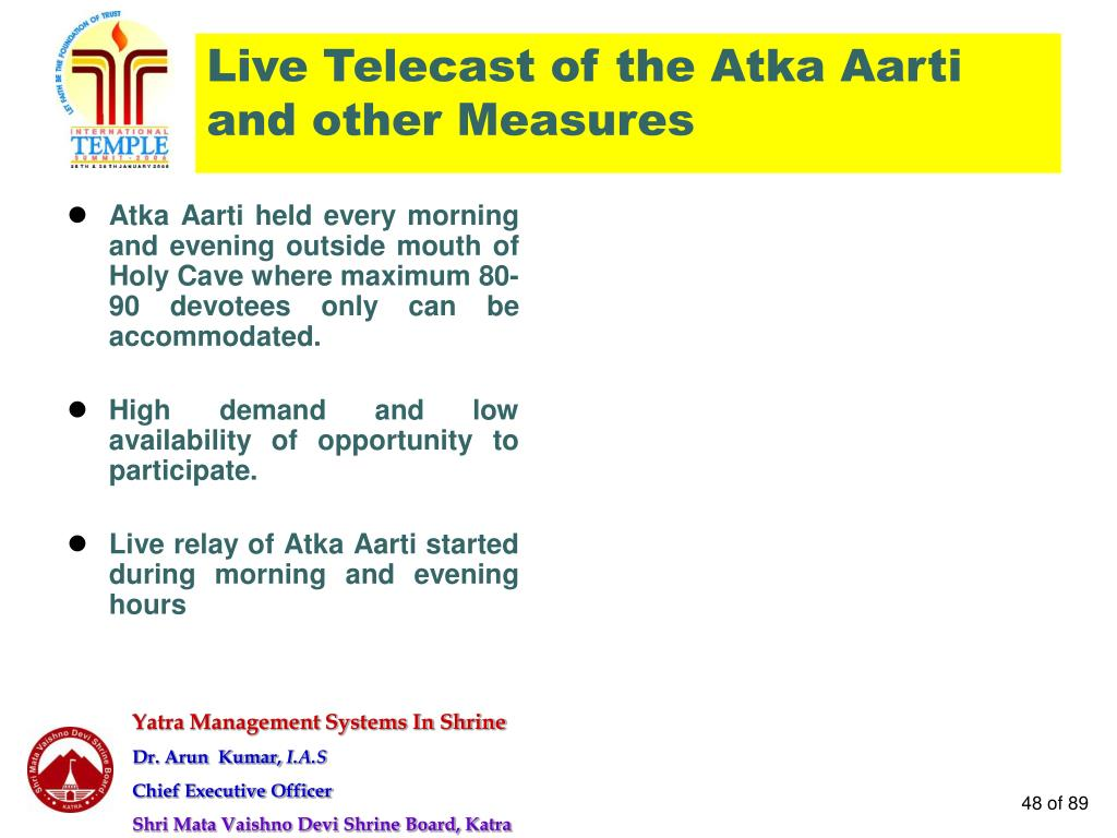 Live Telecast of the Atka Aarti and other Measures