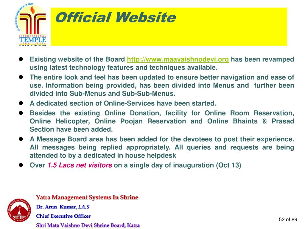 Existing website of the Board