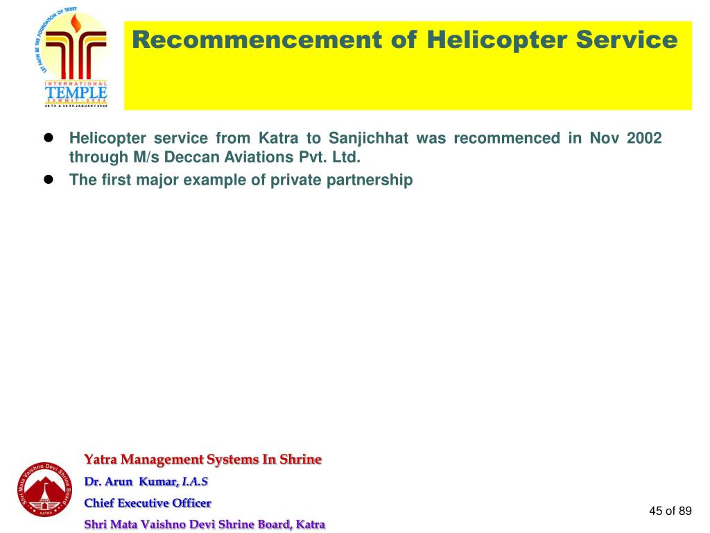 Recommencement of Helicopter Service