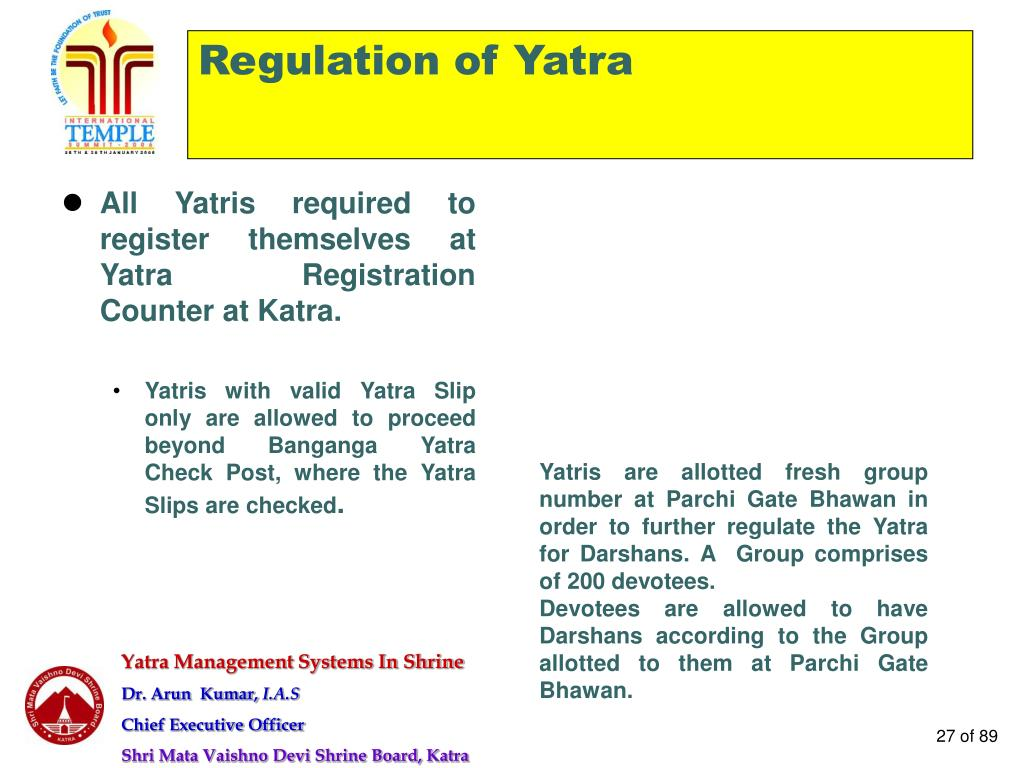 Regulation of Yatra