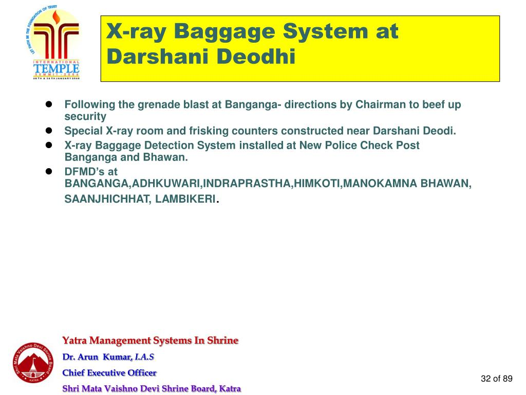 X-ray Baggage System at Darshani Deodhi