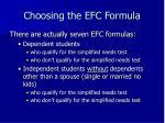 choosing the efc formula