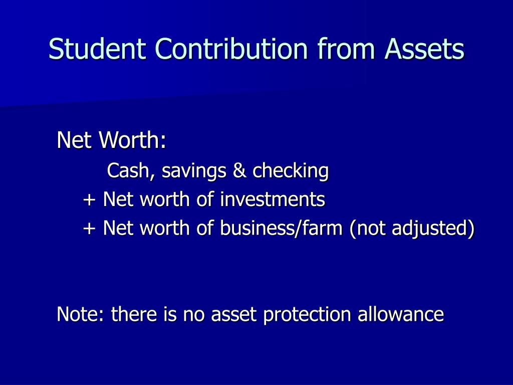 Student Contribution from Assets