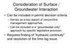 consideration of surface groundwater interaction