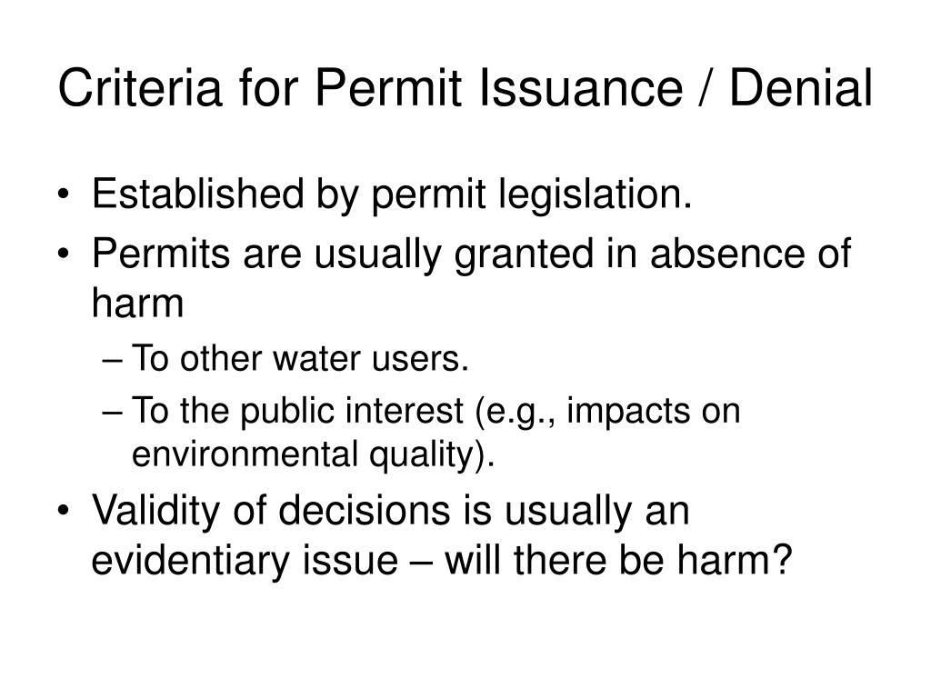 Criteria for Permit Issuance / Denial