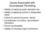 issues associated with groundwater permitting