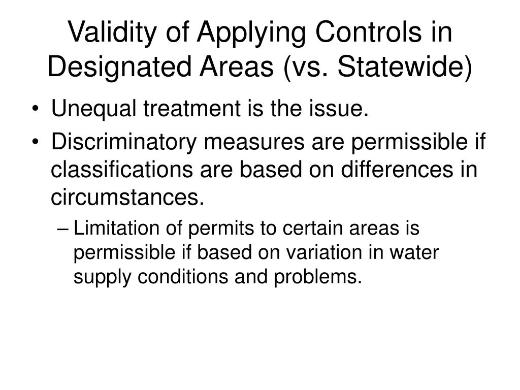 Validity of Applying Controls in Designated Areas (vs. Statewide)