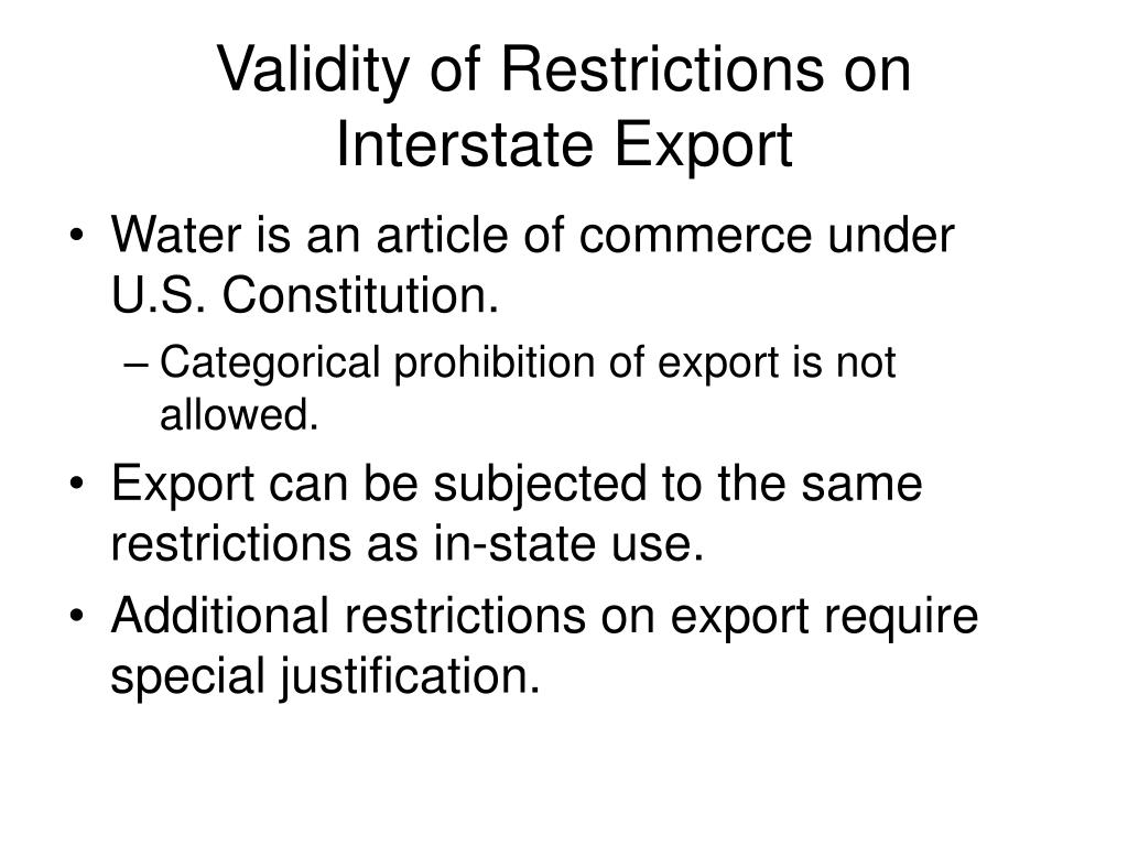 Validity of Restrictions on