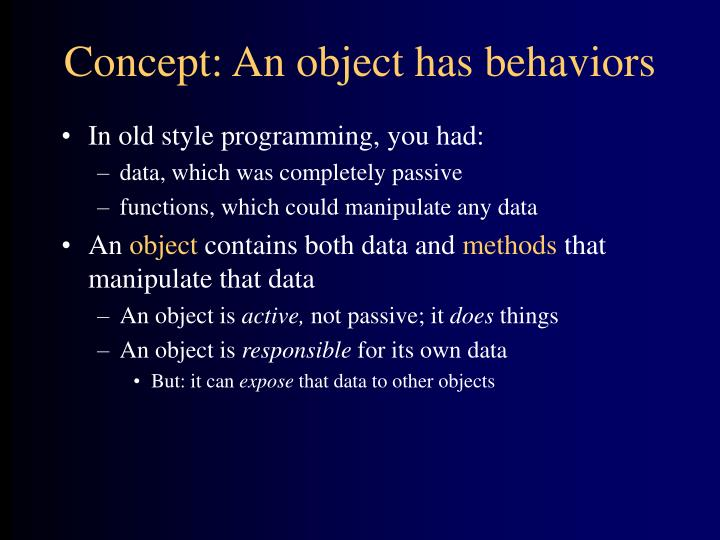 Concept an object has behaviors