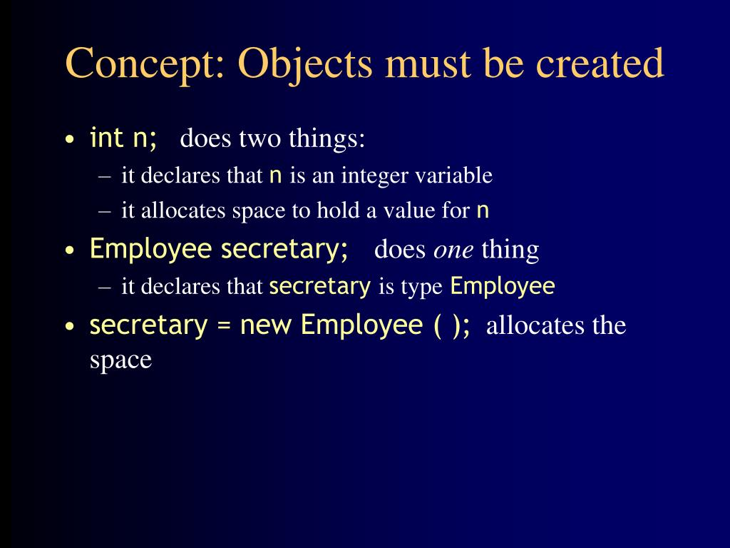 Concept: Objects must be created