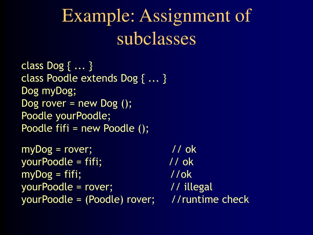 Example: Assignment of subclasses