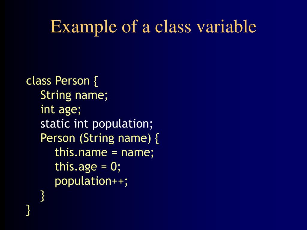 Example of a class variable