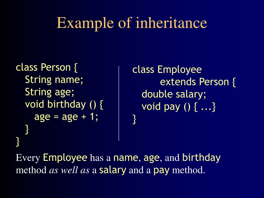 Example of inheritance