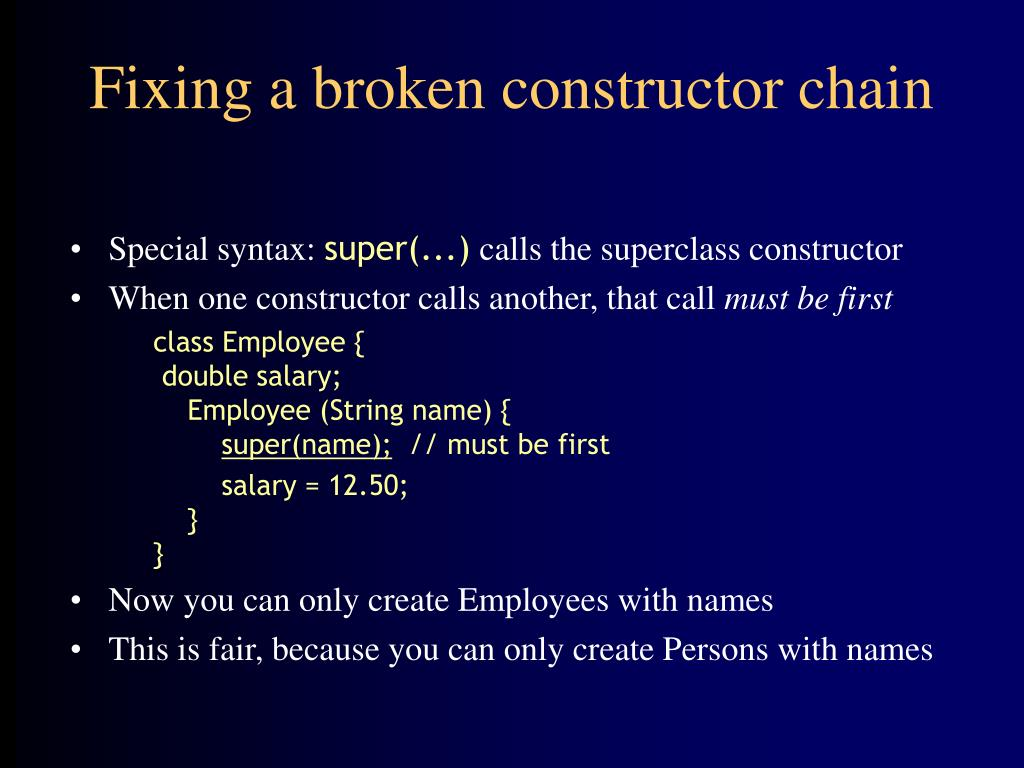 Fixing a broken constructor chain