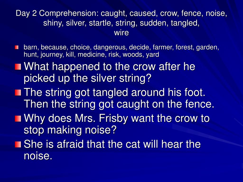 Day 2 Comprehension: caught, caused, crow, fence, noise, shiny, silver, startle, string, sudden, tangled,