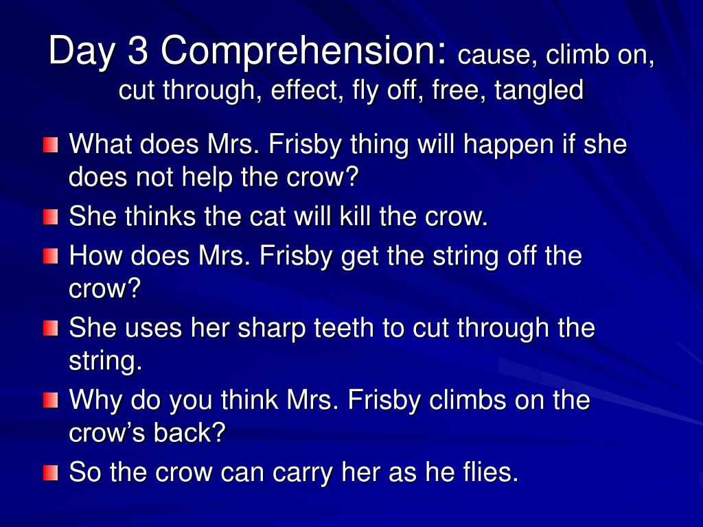 Day 3 Comprehension: