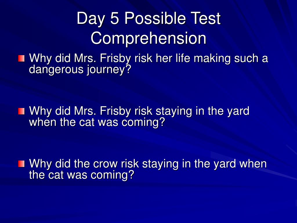 Day 5 Possible Test Comprehension