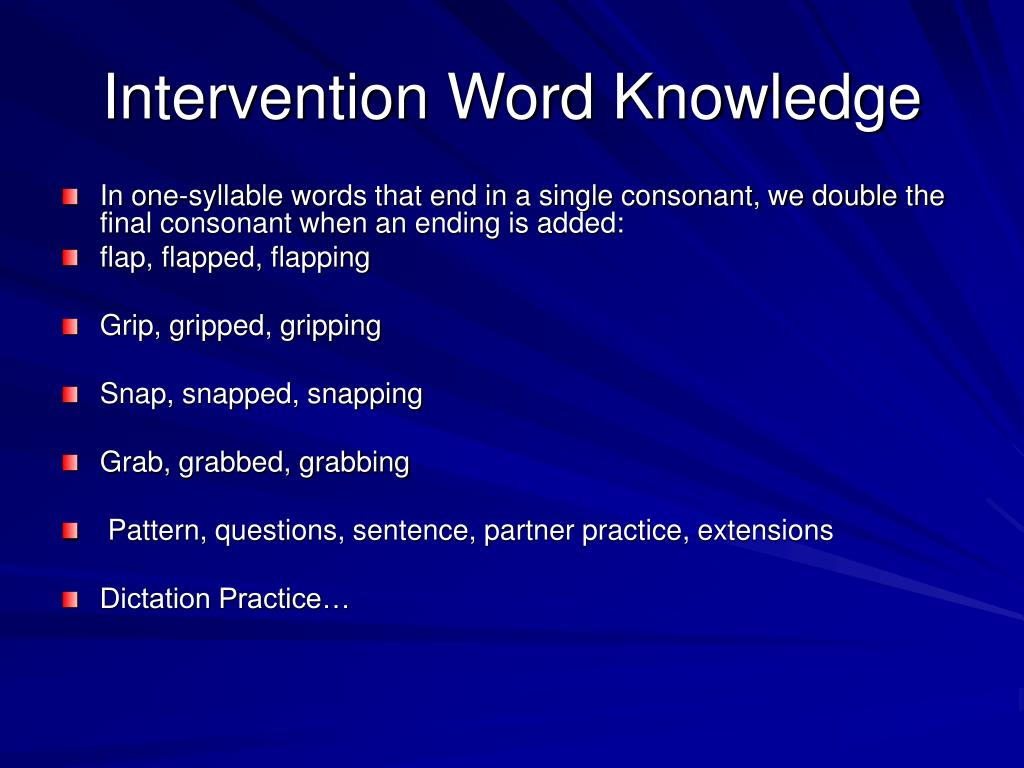 Intervention Word Knowledge