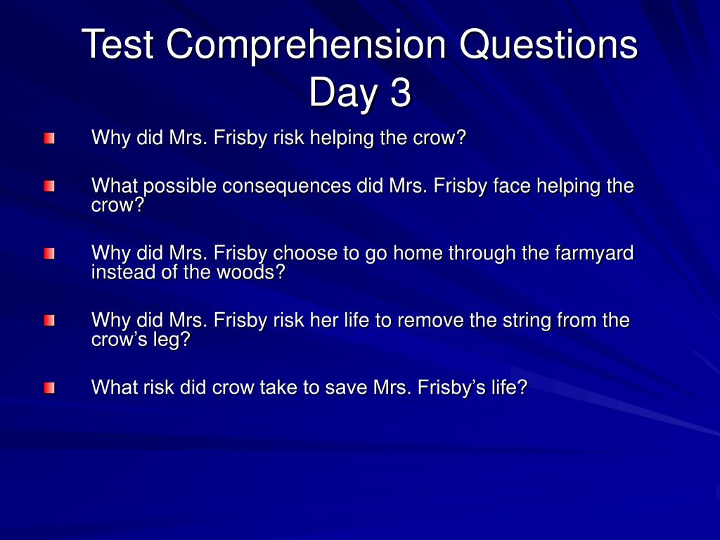 Test Comprehension Questions