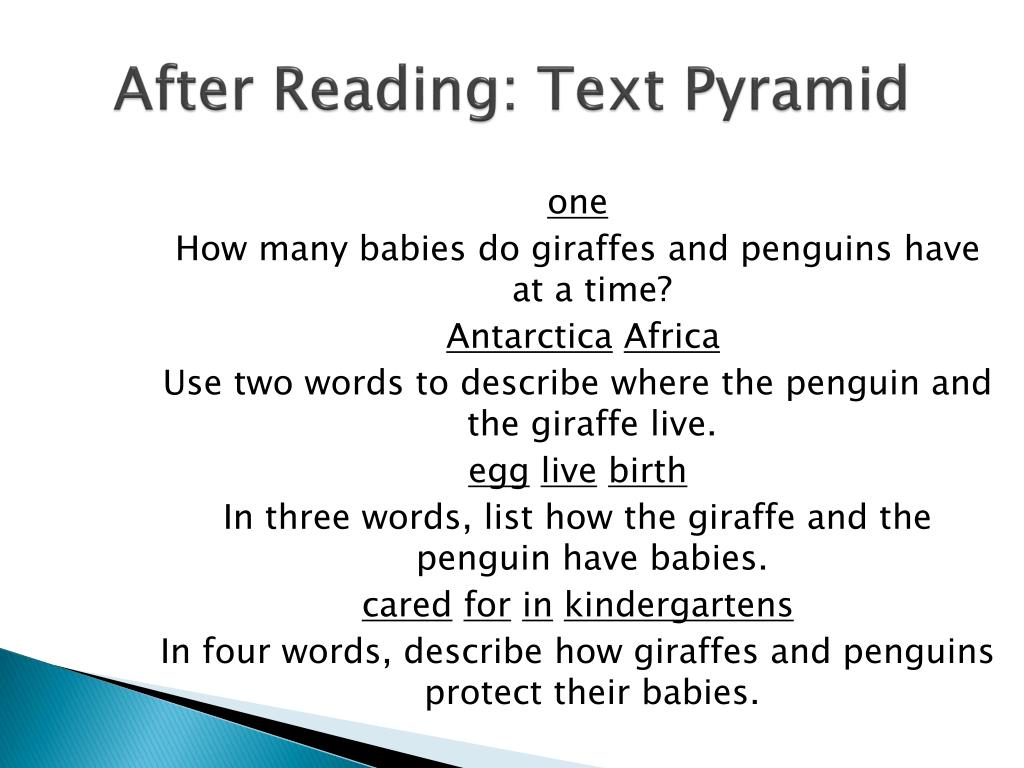 After Reading: Text Pyramid