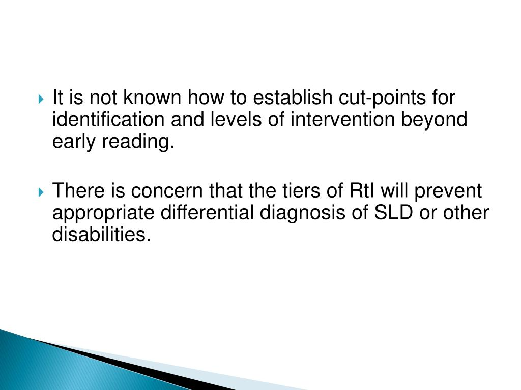 It is not known how to establish cut-points for identification and levels of intervention beyond early reading.