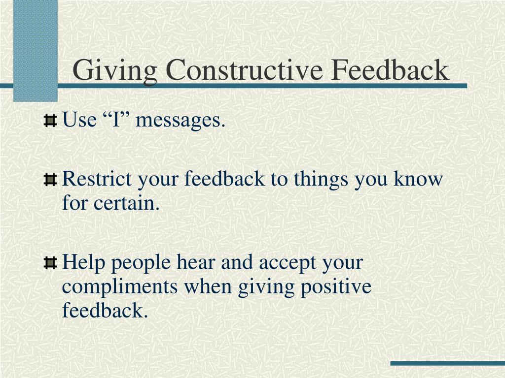Giving Constructive Feedback