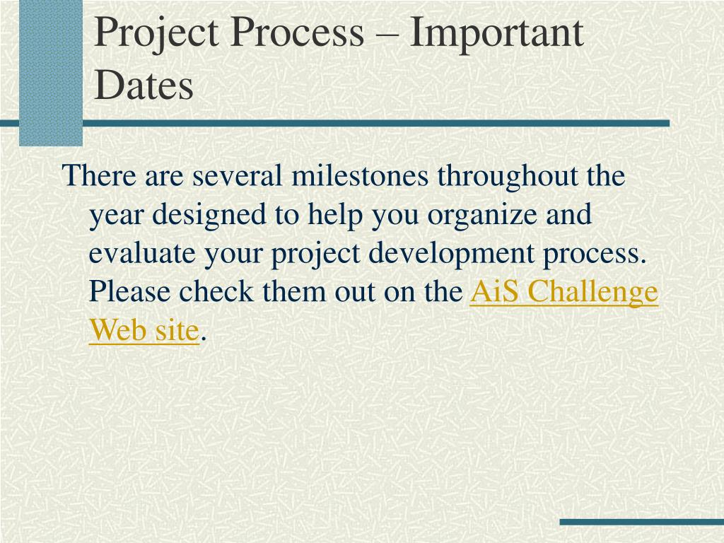 Project Process – Important Dates