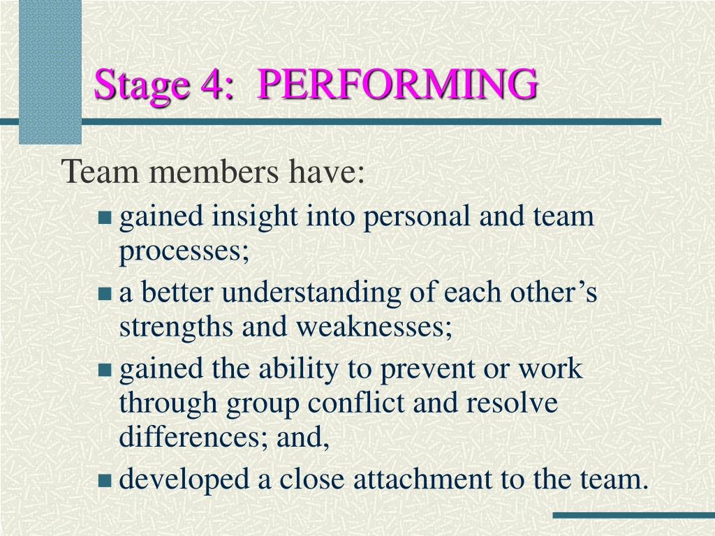 Stage 4:  PERFORMING