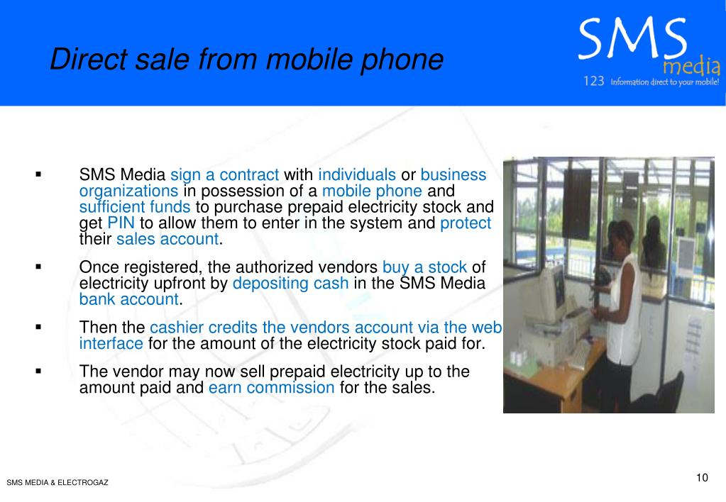Direct sale from mobile phone