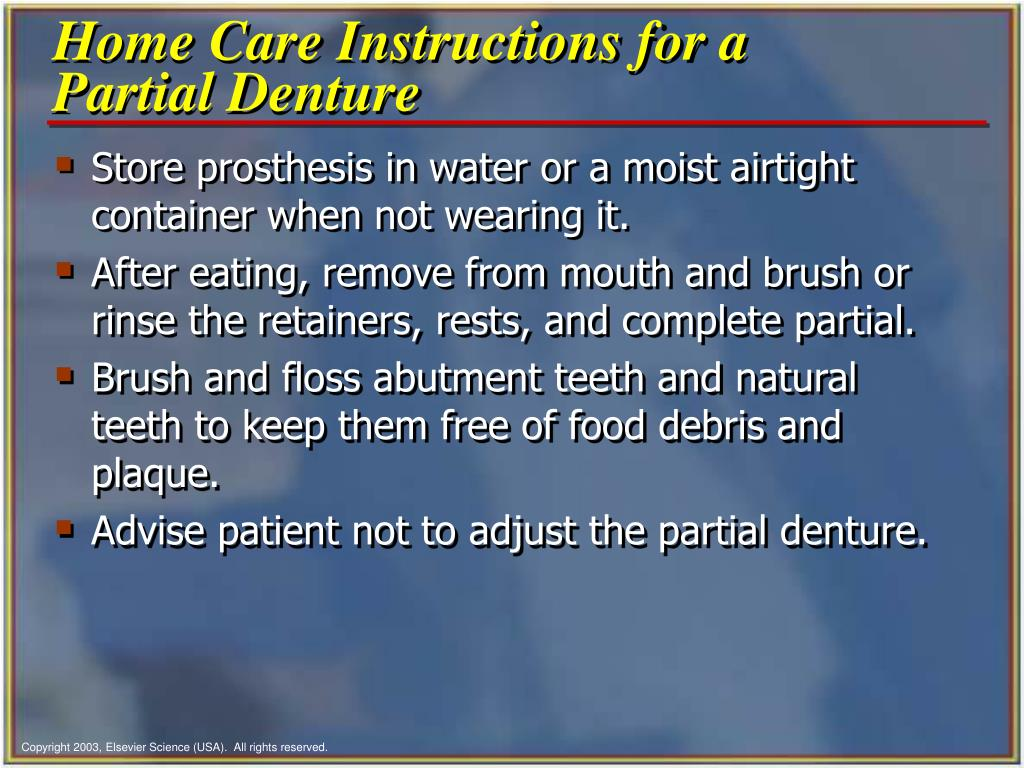 Home Care Instructions for a Partial Denture