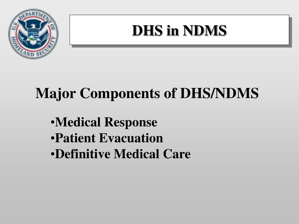 national disaster medical system ndms National disaster medical system, ndms a partnership between us federal and state health care institutions that provides emergency responses to catastrophes, including emergency on-site health care, evacuation, and interstate hospital coordination.