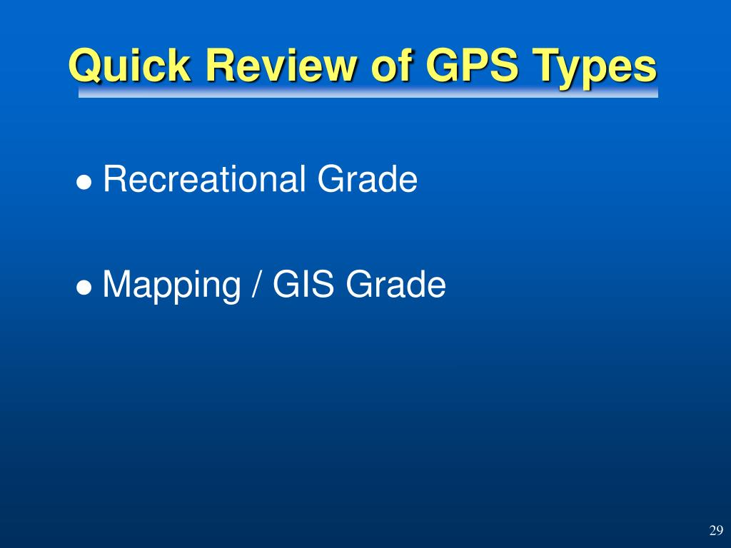 Quick Review of GPS Types