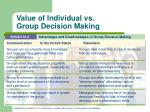 value of individual vs group decision making1