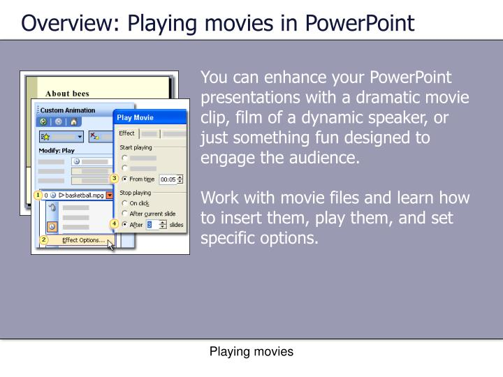 Overview: Playing movies in PowerPoint