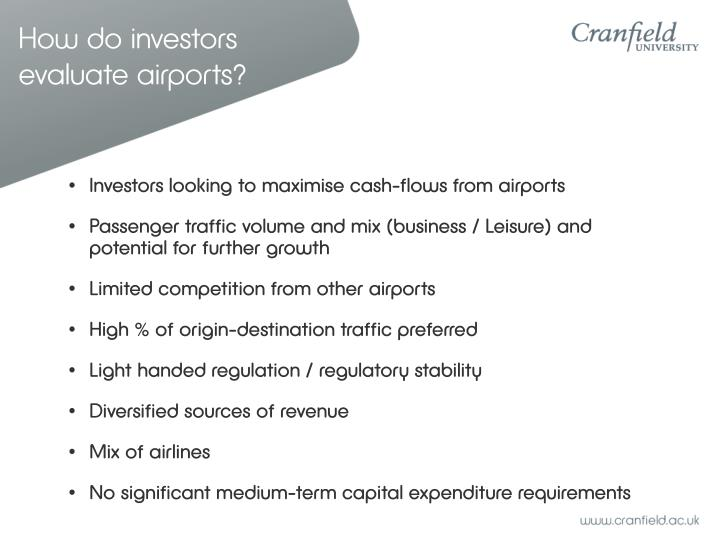 How do investors evaluate airports?
