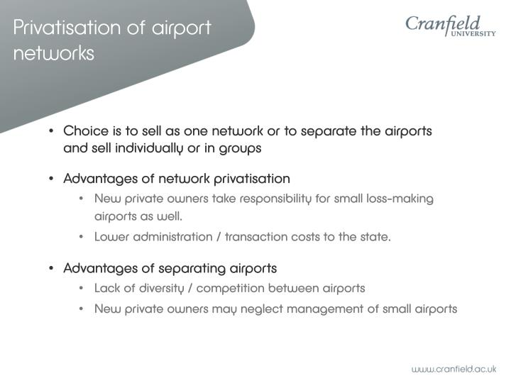 Privatisation of airport networks