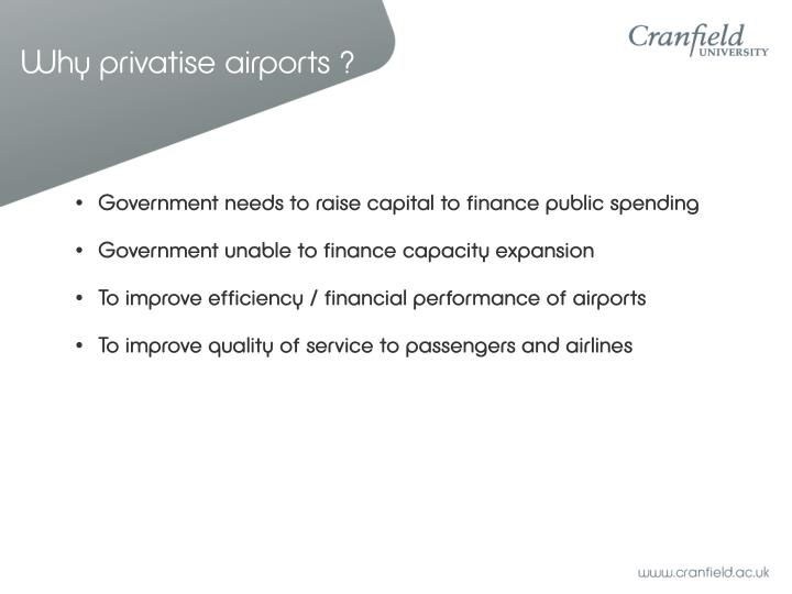 Why privatise airports