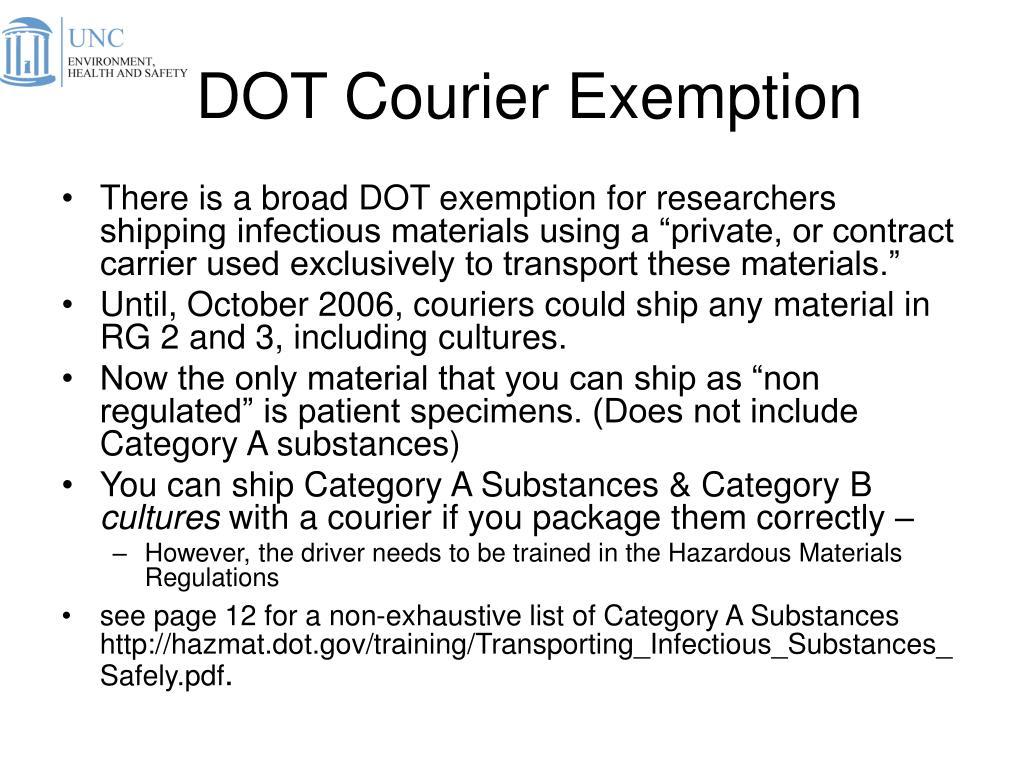 DOT Courier Exemption