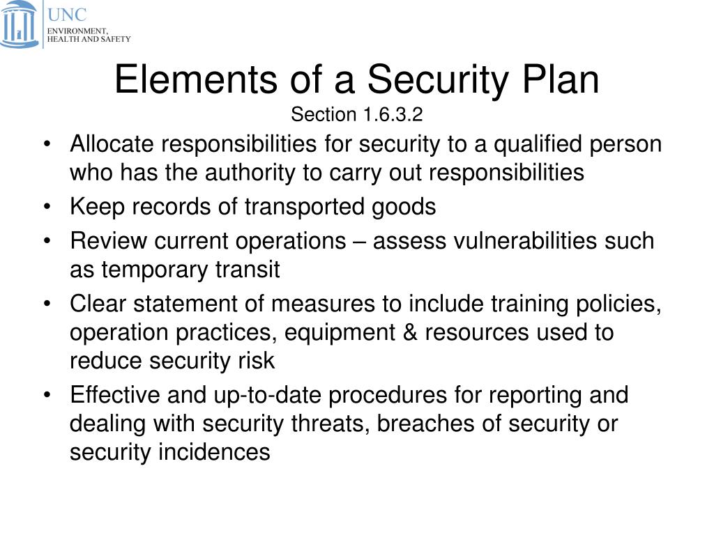 Elements of a Security Plan