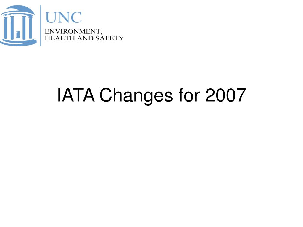 IATA Changes for 2007