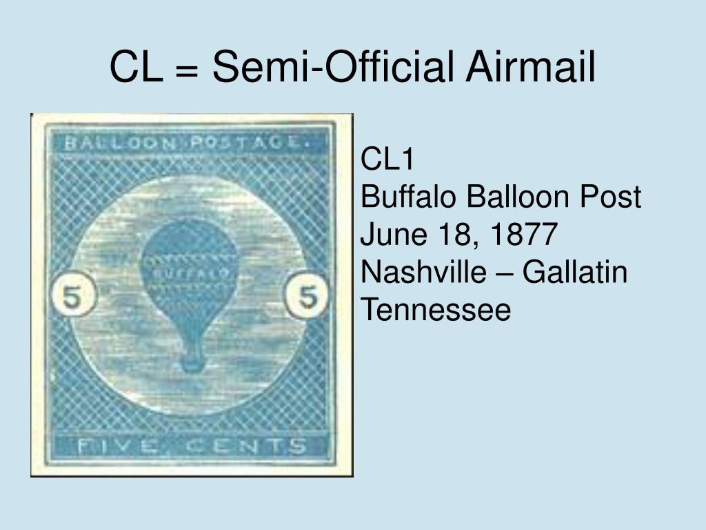 CL = Semi-Official Airmail
