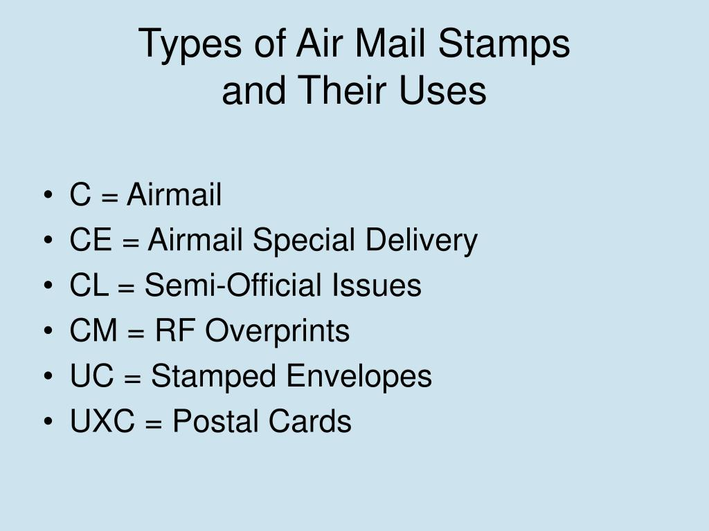 Types of Air Mail Stamps