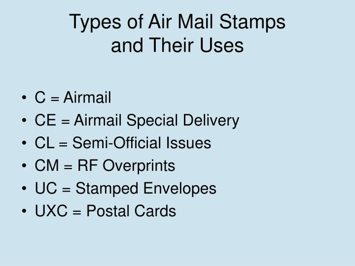 Types of air mail stamps and their uses