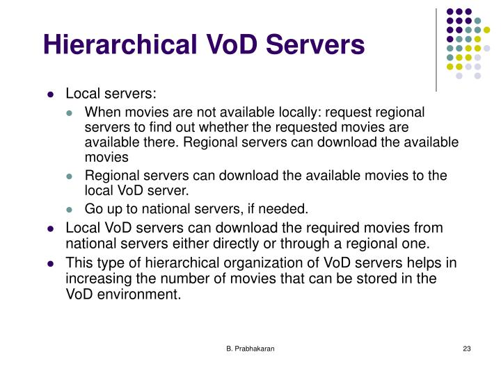 Hierarchical VoD Servers