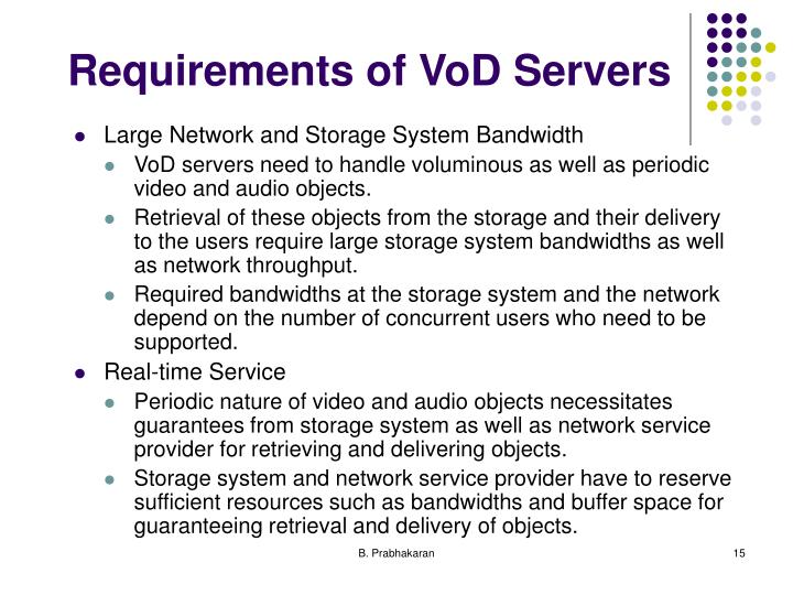 Requirements of VoD Servers