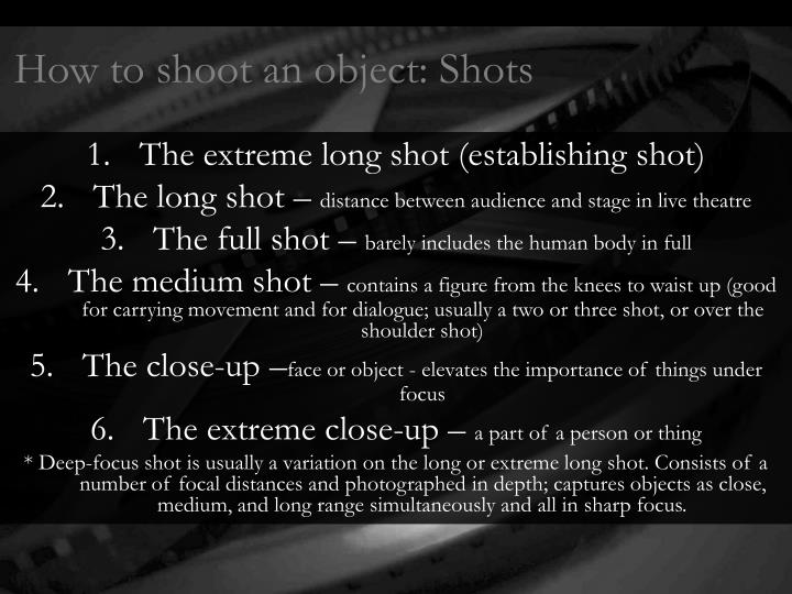 How to shoot an object: Shots